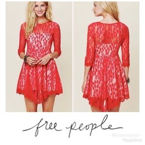 Free People red lace overlay boho dress